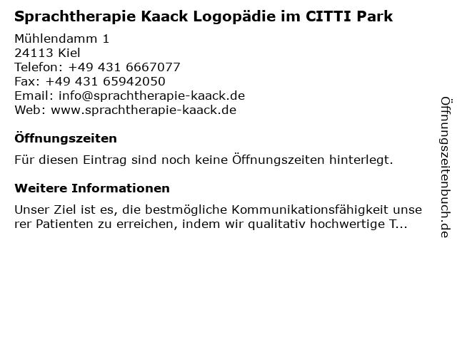 Sprachtherapie Kaack Logopädie im CITTI Park in Kiel: Adresse und Öffnungszeiten