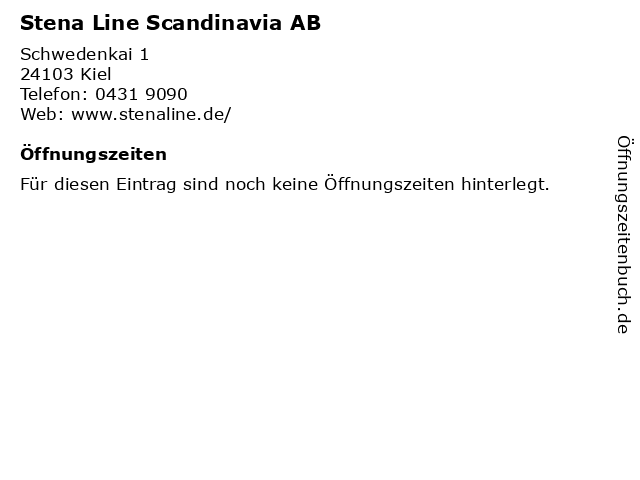 Stena Line Scandinavia AB in Kiel: Adresse und Öffnungszeiten