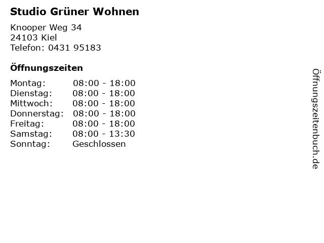 Studio Grüner Wohnen in Kiel: Adresse und Öffnungszeiten