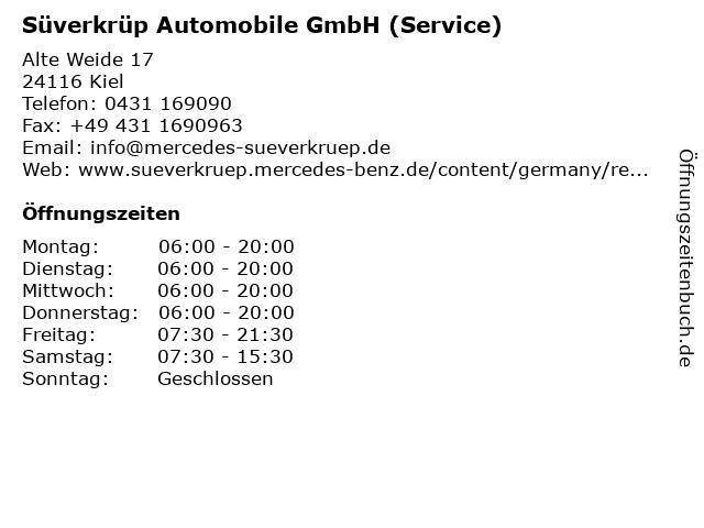 Süverkrüp Automobile GmbH (Service) in Kiel: Adresse und Öffnungszeiten