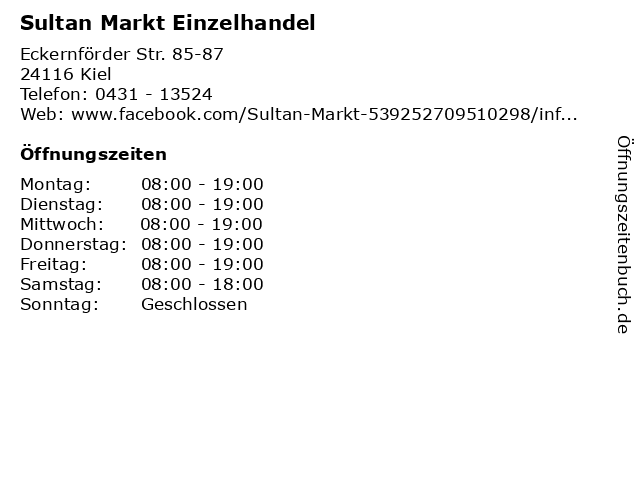 Sultan Markt Einzelhandel in Kiel: Adresse und Öffnungszeiten