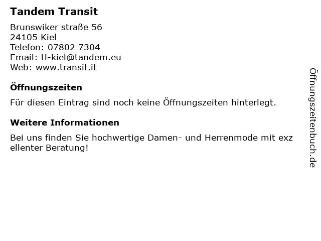 Tandem Transit in Kiel: Adresse und Öffnungszeiten