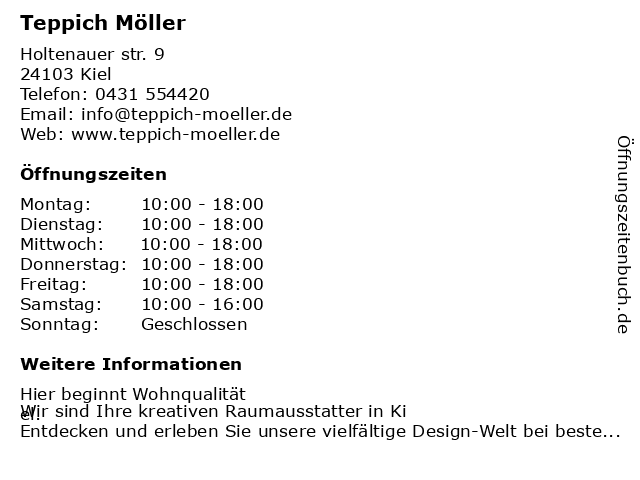 Teppich Möller in Kiel: Adresse und Öffnungszeiten