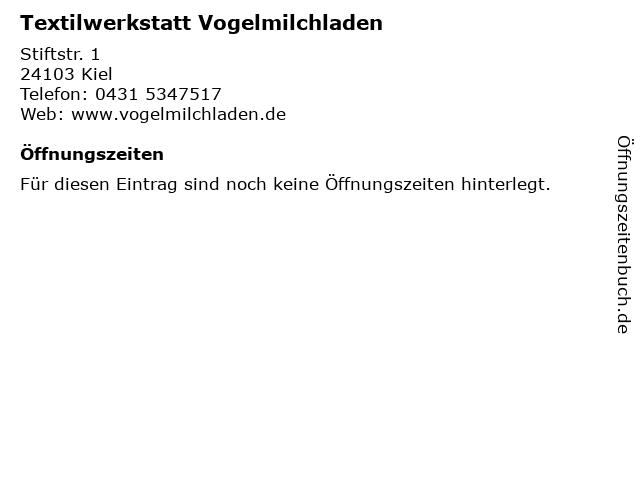 Textilwerkstatt Vogelmilchladen in Kiel: Adresse und Öffnungszeiten