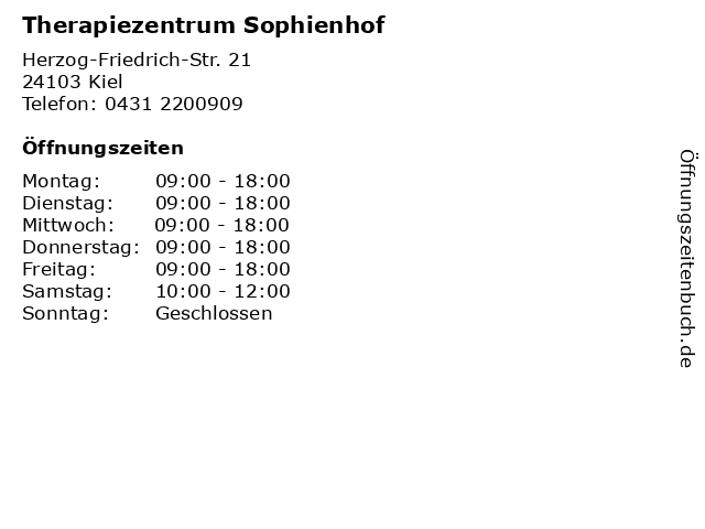 Therapiezentrum Sophienhof in Kiel: Adresse und Öffnungszeiten