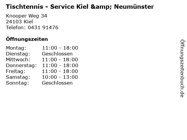 Tischtennis - Service Kiel & Neumünster in Kiel: Adresse und Öffnungszeiten