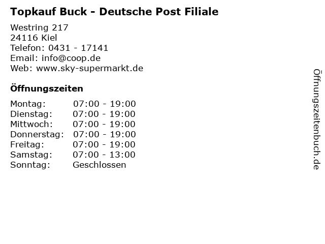 Topkauf Buck - Deutsche Post Filiale in Kiel: Adresse und Öffnungszeiten