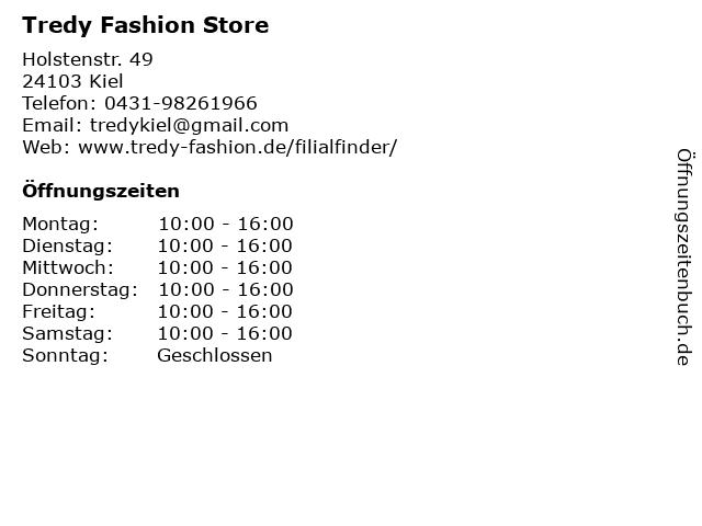 Tredy Fashion Store in Kiel: Adresse und Öffnungszeiten