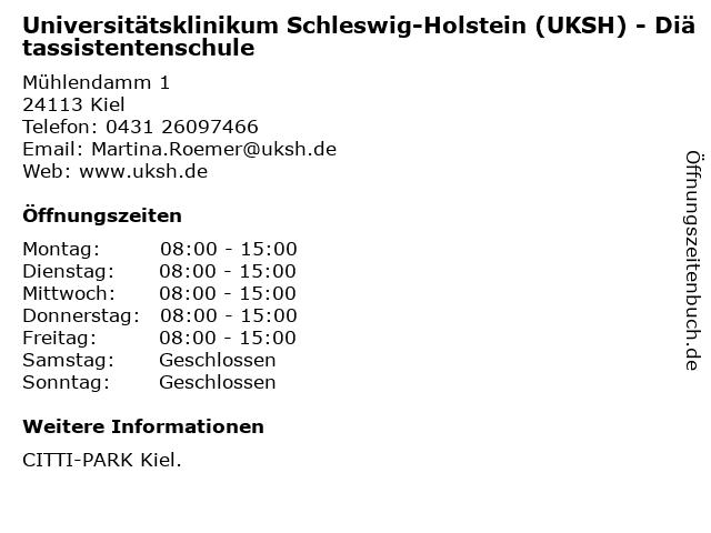 Universitätsklinikum Schleswig-Holstein (UKSH) - Diätassistentenschule in Kiel: Adresse und Öffnungszeiten