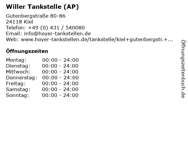 Willer Tankstelle (AP) in Kiel: Adresse und Öffnungszeiten