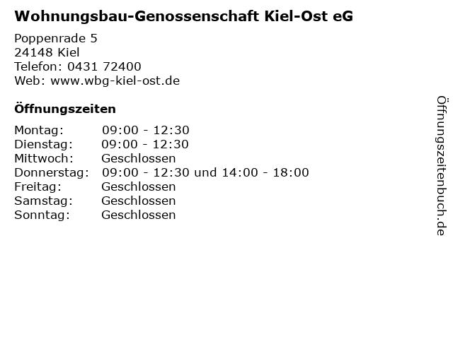 Wohnungsbau-Genossenschaft Kiel-Ost eG in Kiel: Adresse und Öffnungszeiten