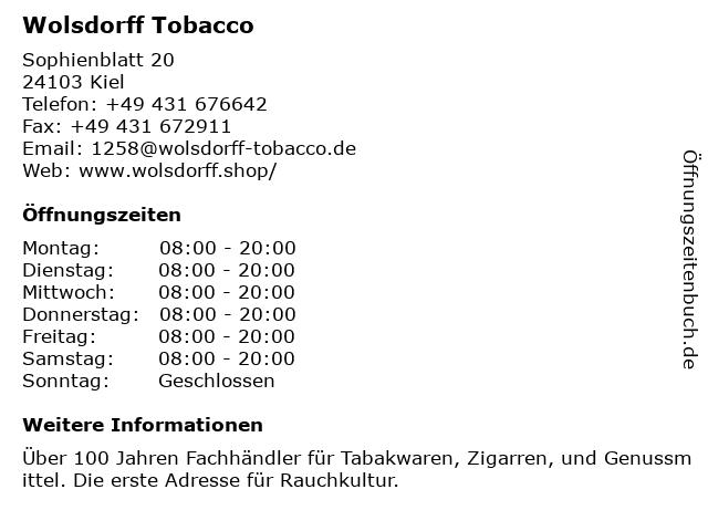 Wolsdorff Tobacco in Kiel: Adresse und Öffnungszeiten