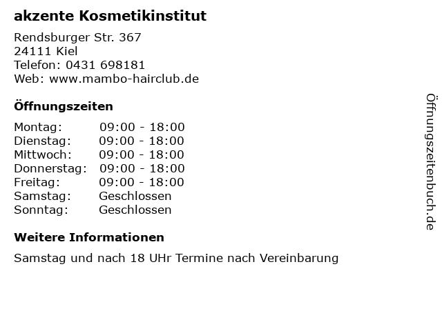 akzente Kosmetikinstitut in Kiel: Adresse und Öffnungszeiten