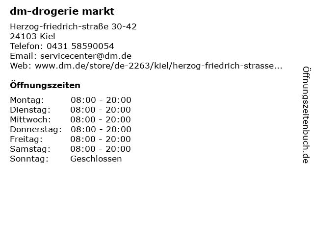 dm-drogerie markt in Kiel: Adresse und Öffnungszeiten