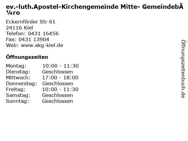 ev.-luth.Apostel-Kirchengemeinde Mitte- Gemeindebüro in Kiel: Adresse und Öffnungszeiten