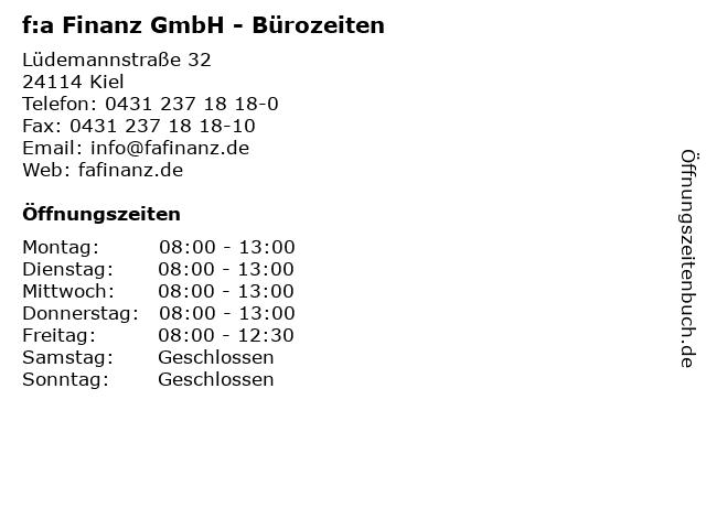 f:a Finanz GmbH - Bürozeiten in Kiel: Adresse und Öffnungszeiten