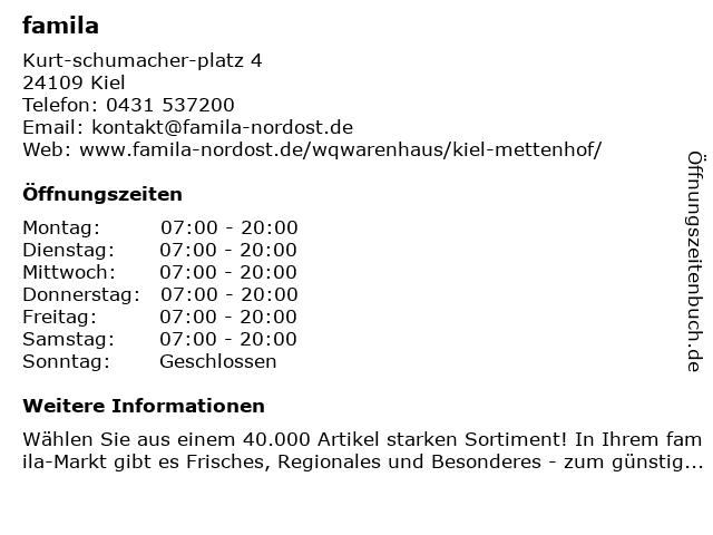 famila Kiel-Mettenhof in Kiel: Adresse und Öffnungszeiten