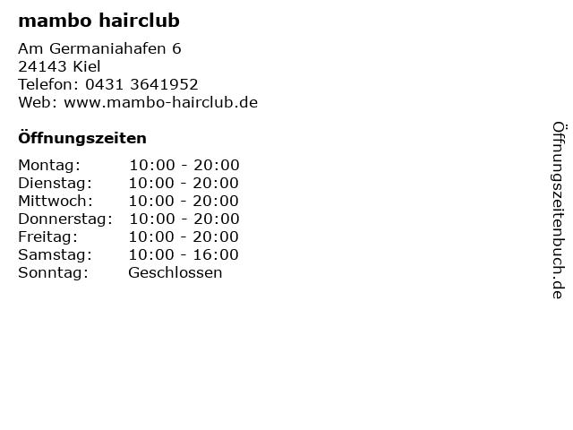 mambo hairclub in Kiel: Adresse und Öffnungszeiten