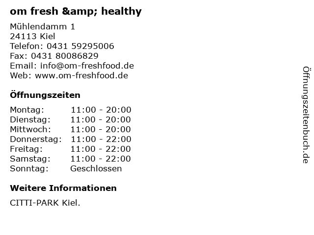 om fresh & healthy in Kiel: Adresse und Öffnungszeiten