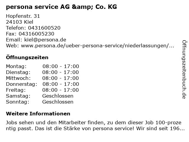 persona service AG & Co. KG in Kiel: Adresse und Öffnungszeiten
