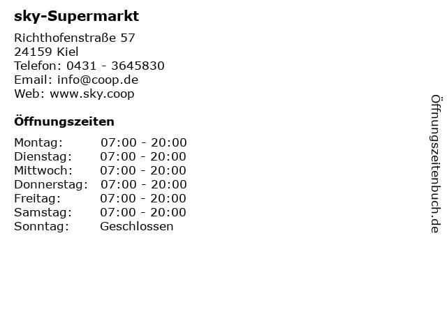sky-Supermarkt in Kiel: Adresse und Öffnungszeiten