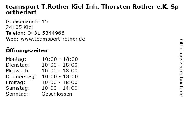 teamsport T.Rother Kiel Inh. Thorsten Rother e.K. Sportbedarf in Kiel: Adresse und Öffnungszeiten