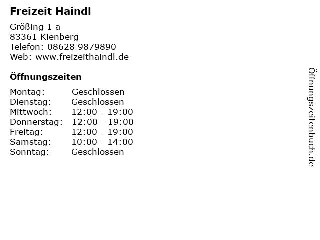 Freizeit Haindl in Kienberg: Adresse und Öffnungszeiten