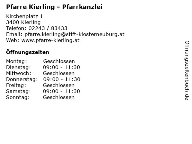 Pfarre Kierling - Pfarrkanzlei in Kierling: Adresse und Öffnungszeiten
