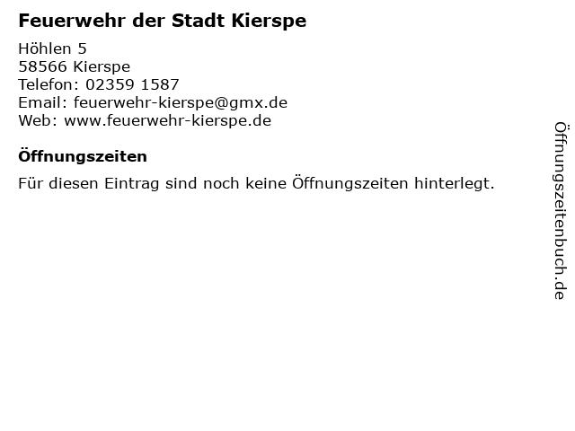 Feuerwehr der Stadt Kierspe in Kierspe: Adresse und Öffnungszeiten