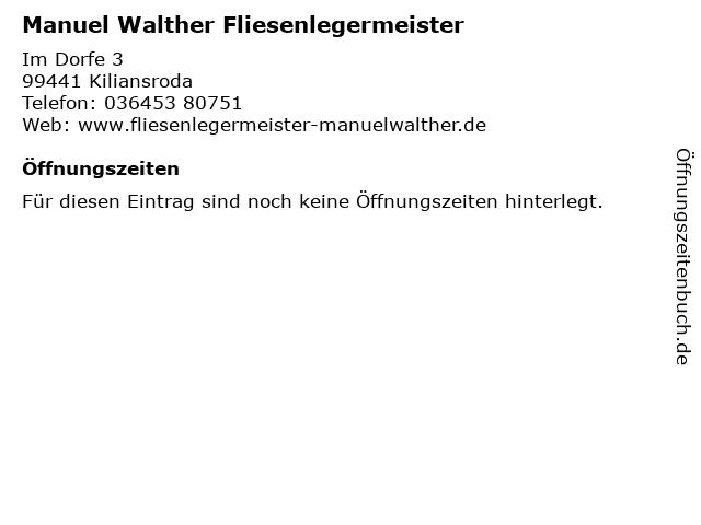 Manuel Walther Fliesenlegermeister in Kiliansroda: Adresse und Öffnungszeiten