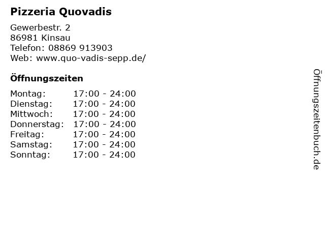 Pizzeria Quovadis in Kinsau: Adresse und Öffnungszeiten