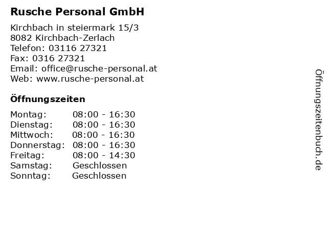 Rusche Personal GmbH in Kirchbach-Zerlach: Adresse und Öffnungszeiten