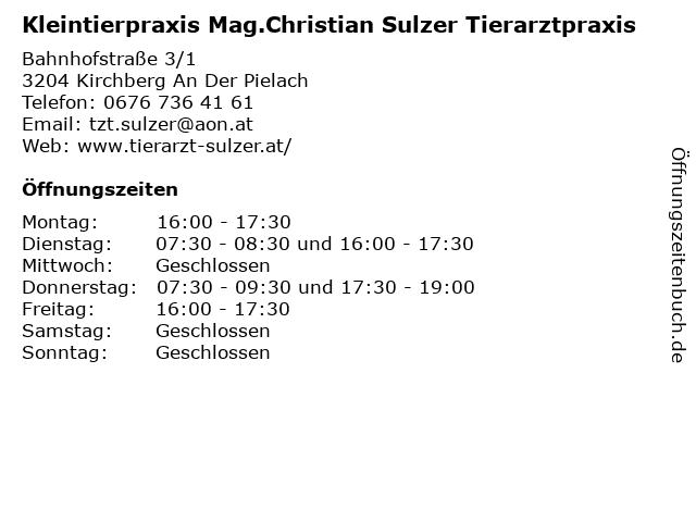 Kleintierpraxis Mag.Christian Sulzer Tierarztpraxis in Kirchberg An Der Pielach: Adresse und Öffnungszeiten