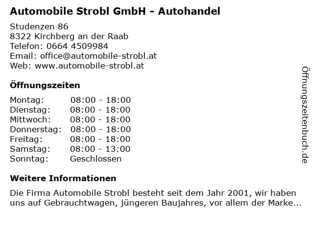 Automobile Strobl GmbH - Autohandel in Kirchberg an der Raab: Adresse und Öffnungszeiten