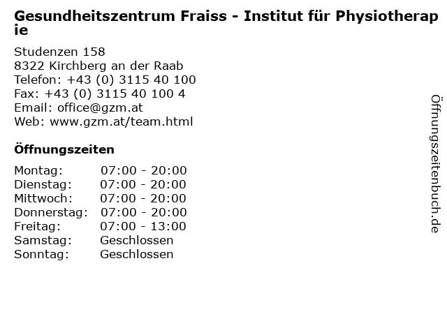 Gesundheitszentrum Fraiss - Institut für Physiotherapie in Kirchberg an der Raab: Adresse und Öffnungszeiten
