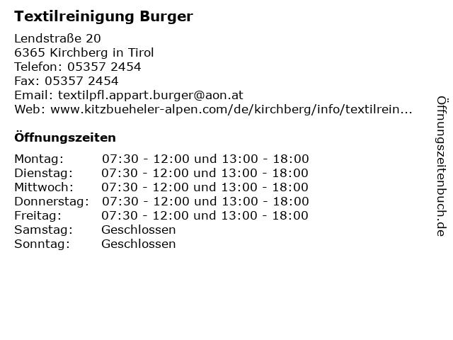 Textilreinigung Burger in Kirchberg in Tirol: Adresse und Öffnungszeiten