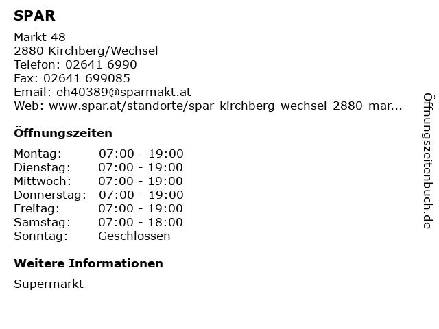 SPAR in Kirchberg/Wechsel: Adresse und Öffnungszeiten