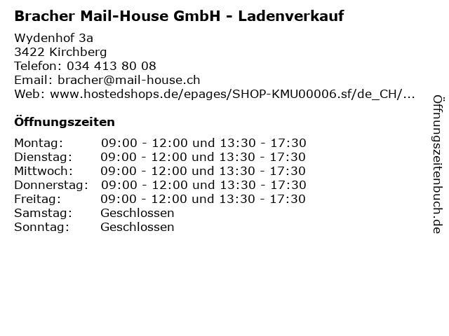 Bracher Mail-House GmbH - Ladenverkauf in Kirchberg: Adresse und Öffnungszeiten