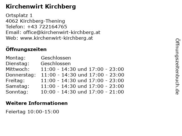 Kirchenwirt Kirchberg in Kirchberg-Thening: Adresse und Öffnungszeiten