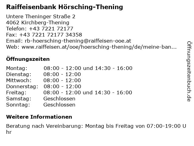 Raiffeisenbank Hörsching-Thening in Kirchberg-Thening: Adresse und Öffnungszeiten