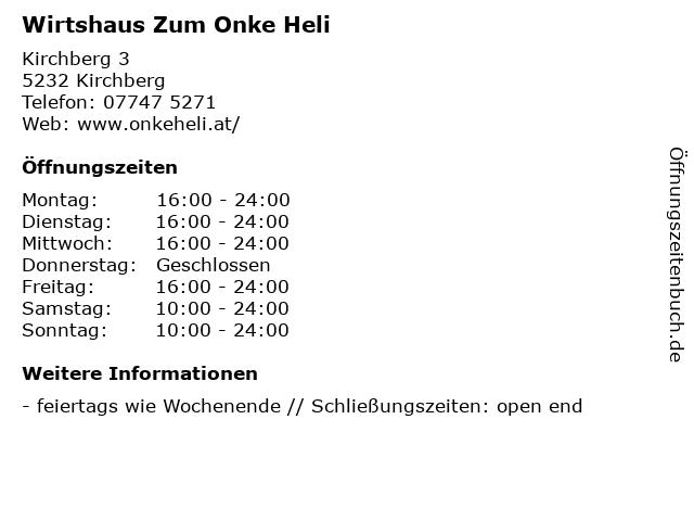 Wirtshaus Zum Onke Heli in Kirchberg: Adresse und Öffnungszeiten