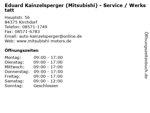 Eduard Kainzelsperger (Mitsubishi) - Service / Werkstatt in Kirchdorf: Adresse und Öffnungszeiten