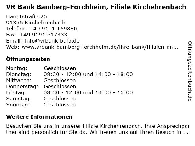 Volksbank Forchheim, Filiale Kirchehrenbach in Kirchehrenbach: Adresse und Öffnungszeiten