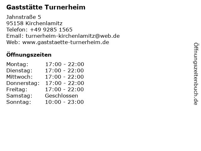 Turnverein Kirchenlamitz 1887 e.V. Gaststätte Turnverein e.V. in Kirchenlamitz: Adresse und Öffnungszeiten