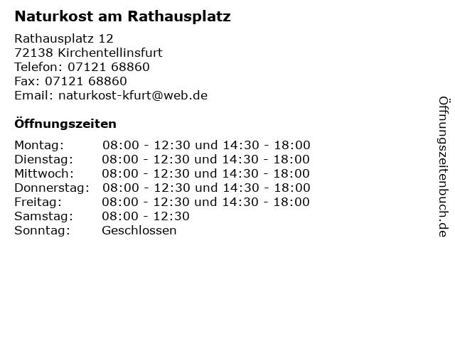Naturkost am Rathausplatz in Kirchentellinsfurt: Adresse und Öffnungszeiten