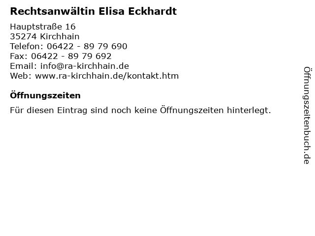 Rechtsanwältin Elisa Eckhardt in Kirchhain: Adresse und Öffnungszeiten