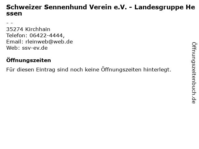 Schweizer Sennenhund Verein e.V. - Landesgruppe Hessen in Kirchhain: Adresse und Öffnungszeiten