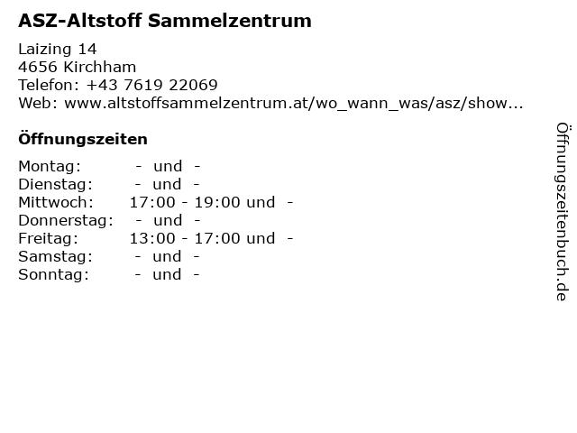 ASZ-Altstoff Sammelzentrum in Kirchham: Adresse und Öffnungszeiten