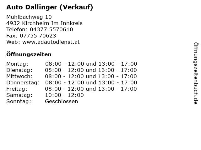 Auto Dallinger (Verkauf) in Kirchheim Im Innkreis: Adresse und Öffnungszeiten