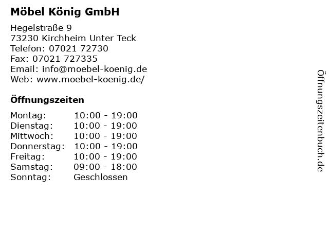 ᐅ öffnungszeiten Möbel König Gmbh Hegelstraße 9 In Kirchheim